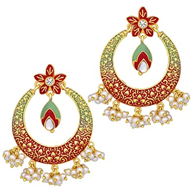 4f10601dbbc Buy Peora Jaipur Original Handcrafted Meenakari Gold Plated Stylish  Chandbali Earrings for Women Girls Online at Low Prices in India