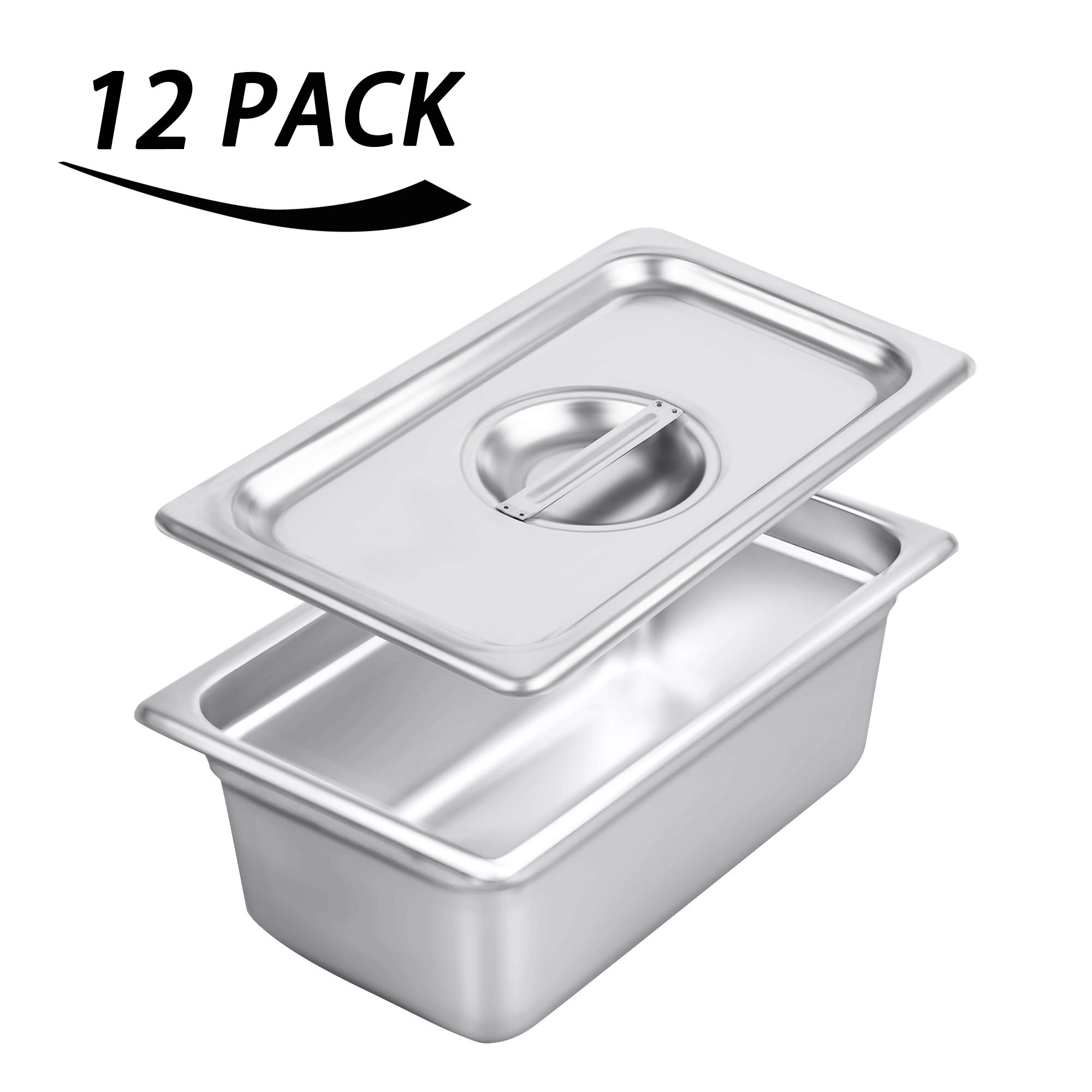1/4 Size Stainless Steel Solid Steam Table Pan Cover, Kitma Pan Lids, Non-Stick Surface, Lid for 1/4 Size Steam Pans with Handle - 12 Pack