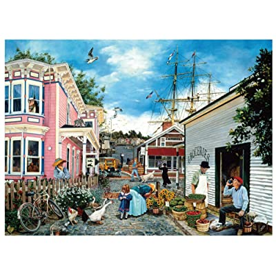 Jigsaw Puzzles for Adults 1000 Pieces Floor Puzzle Intellectual Game Learning Decompression Toys Small Town: Toys & Games