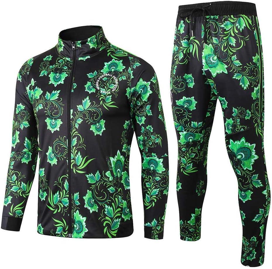 サッカートレーニングスーツ冬暖かいナイジェリアの花黒ジッパージャケットスポーツウェア長袖コート A XL