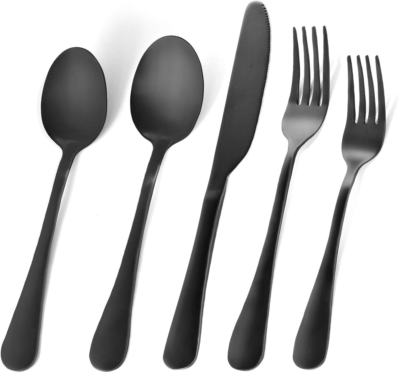 RENOOK Matte Black Silverware Set, Utensil Sets for Kitchens, Satin Finish 25-Piece Stainless Steel Flatware Set, Tableware Cutlery Set for 5, Dishwasher Safe, Gift Package.(25)