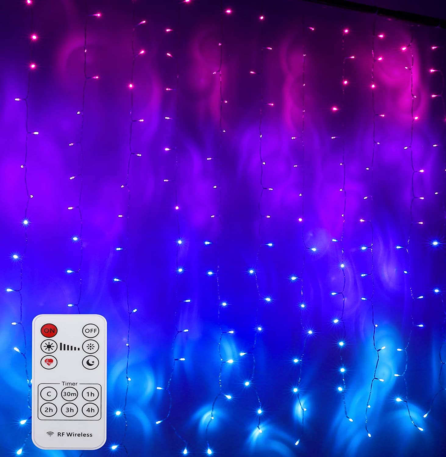 CoziTech Pink Purple & Blue Ombre Fairy Curtain Lights with Remote, Ombre Rainbow LED Icicle String Curtain Lights for Girls Room, Bedroom, Teen Room, Kids Room, Wedding, Holiday, Mermaid Décor
