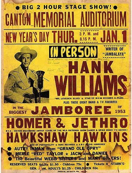 Music Concert Advert Hank Williams New Year Jamboree Framed Wall Art Print