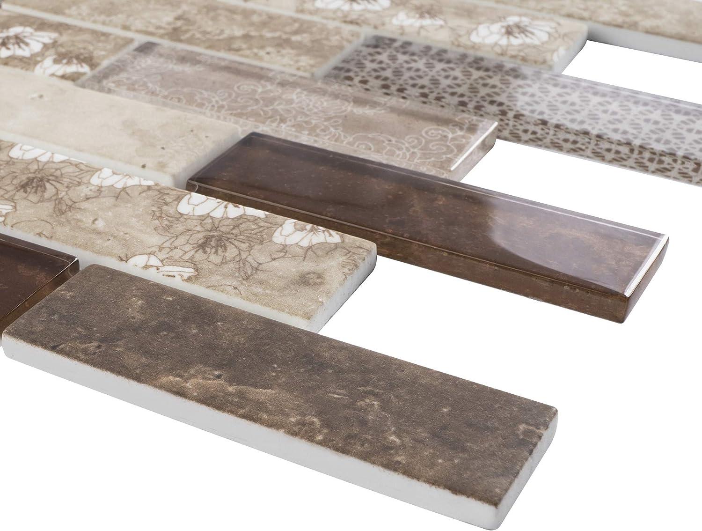 - TREGLG-04 Brown 1x4 Brick Recycle Glass Mosaic Tile Sheet