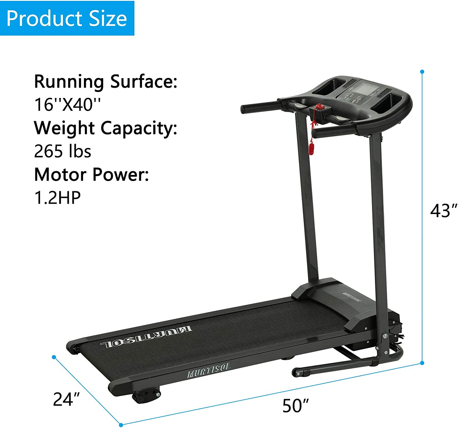 Murtisol Electric Treadmill Folding Running Machine with APP and Manual 3-Level Incline,Running Treadmill Machine for Home Fitness with Heart Rate Grips