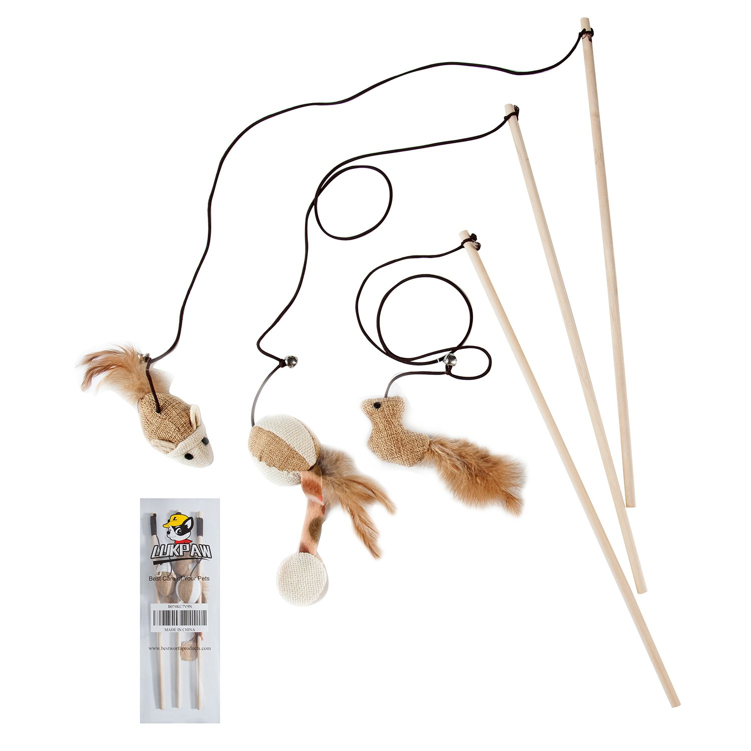 LukPaw Toy Cat Kitten Set of 3 Natural Sisal Wand Teasers with Mouse, Bell, Bird, Feather, Elastic String, and Sturdy Wood Rod