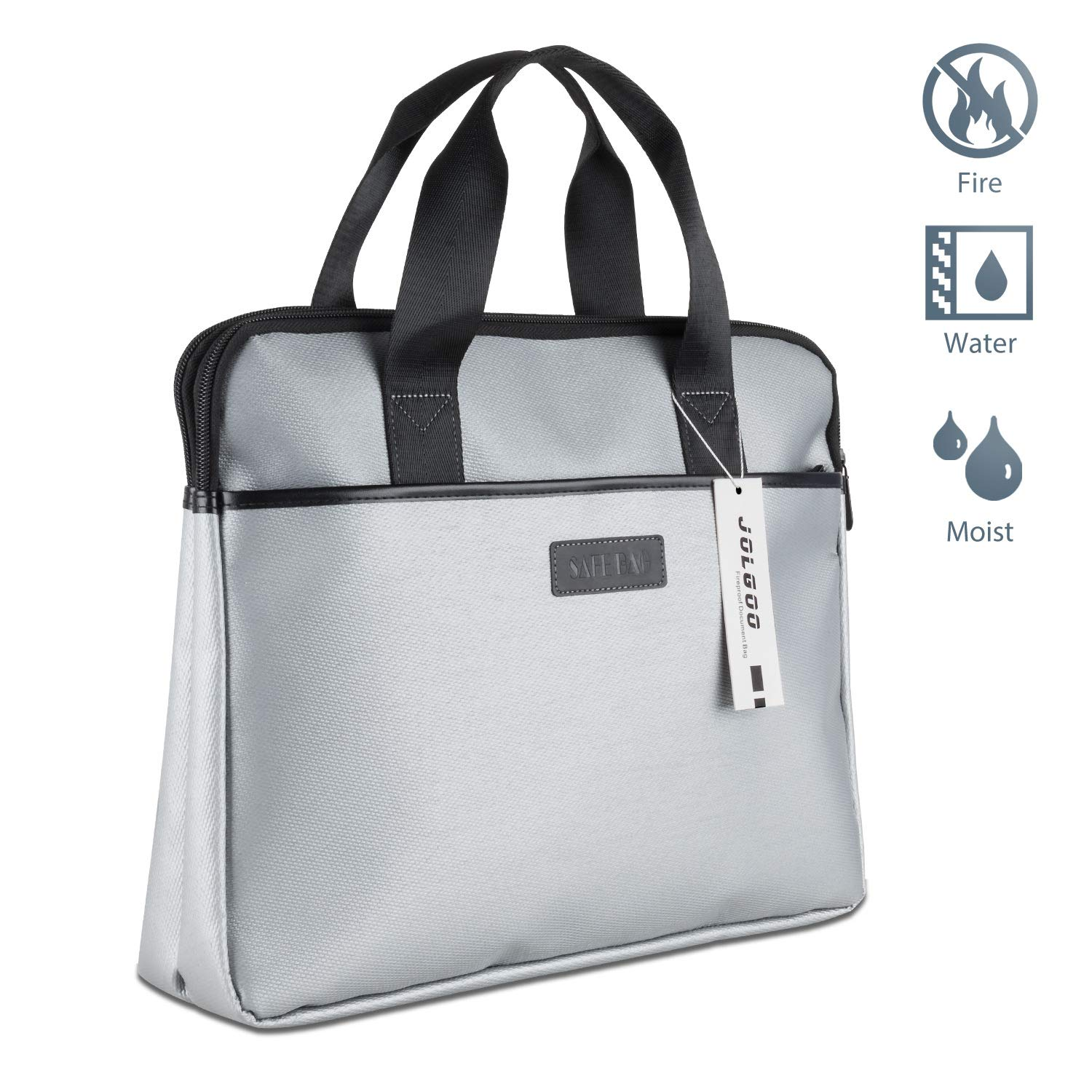 Premium Fireproof Document Bag with Three Zippers, Silicone Glass Fiber Won't Cause Itching. Big 15.3x12.6x2.9 Inches Withstands Intense Heat to 2,192 Degrees. Water Proof, Convenient Handles