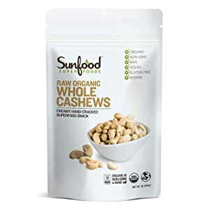 Sunfood Superfoods Cashews - Raw, Whole, Organic - Bulk Value - Rich Creamy Flavor for Snacks - 1 lb Bag