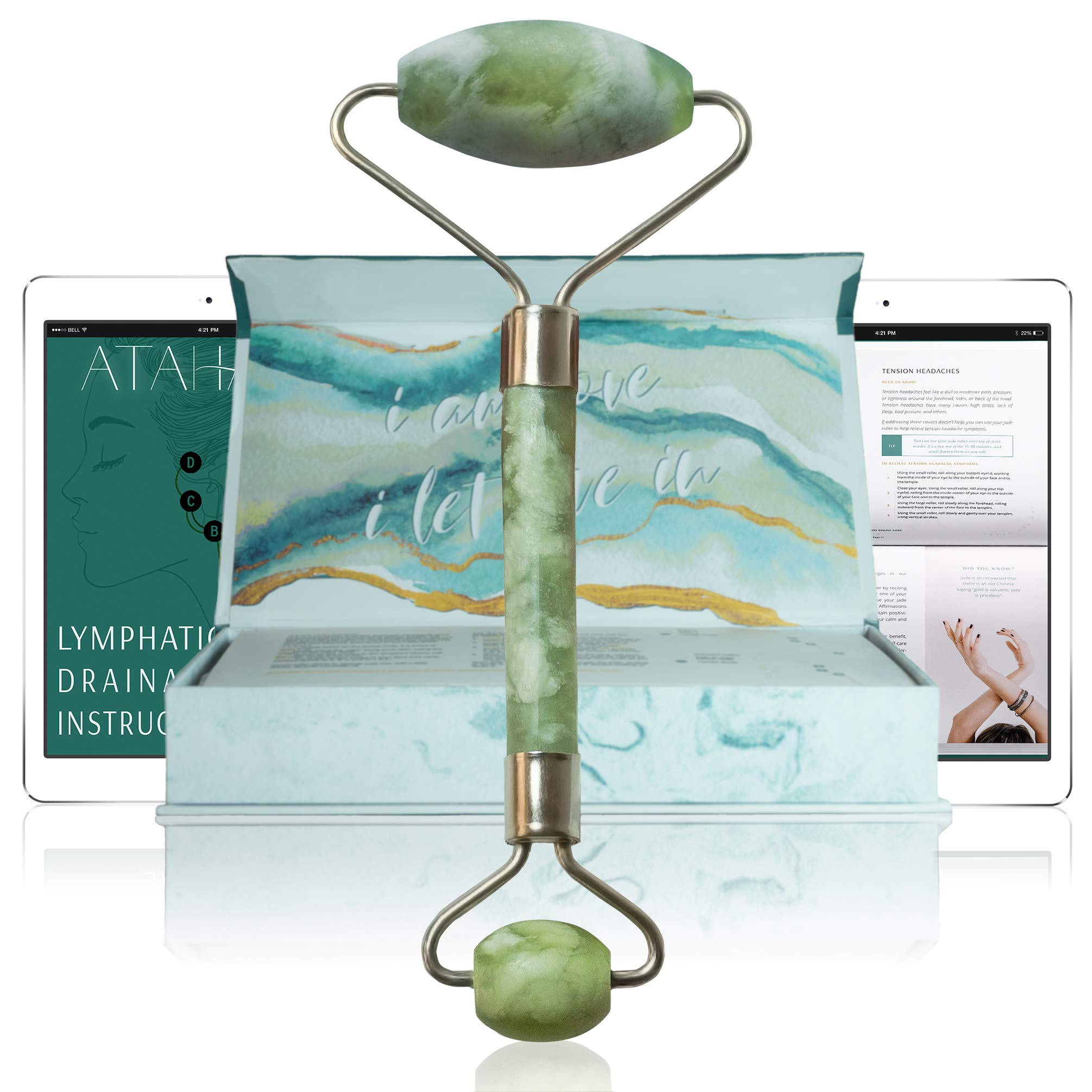 Lymphatic Drainage Jade Facial Roller & Gua Sha - 100% Real Jade - with Video Tutorial and eBook - Natural Skin Care Tool for Face, Neck and Eyes - Wrinkles, Puffiness and Dark Circles by ATAHANA