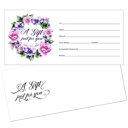 picture about Printable Restaurant Gift Cards named 25 4x9 Adorable Blank Reward Certification Playing cards for Place of work with Envelopes, Cafe, Spa Natural beauty Make-up Hair Salon, Wedding day, Bridal, Kid Shower Print