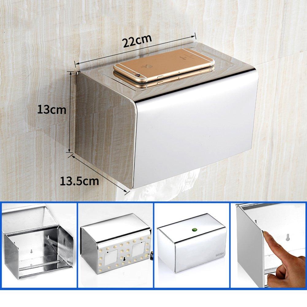 Q&F Toilet Paper Holder, Tissue Roll Hanger -wall Mount,Waterproof,Moisture Proof,Anti-rust,Stainless Steel-H
