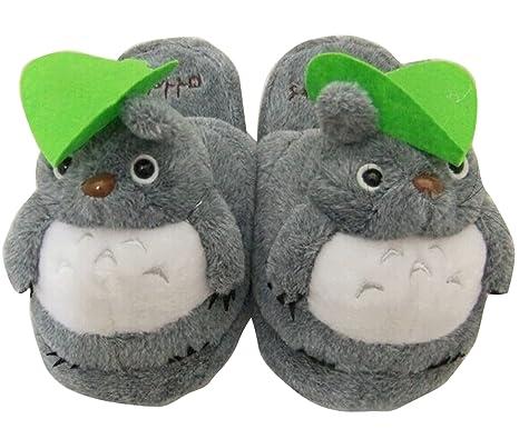 59927389ab3 Amazon.com  Totoro  Soft Gray Totoro Plush Slippers  Clothing