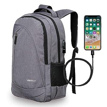 VENTCY Mochila Portatil 15.6 Pulgadas Mochila Hombre Mujer con Puerto de Carga USB Mochila Backpack para el Laptop para Ordenador del Negocio Trabajo Diario ...
