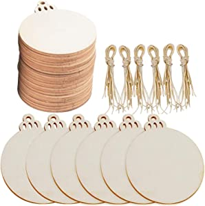 Pack of 60 Round Wooden Discs with Holes, Listenman Unfinished Predrilled Natural Wood Slices with 60pcs Twines, Flat Wood Chips for Christmas Tree Ornaments and Arts DIY Craft Hanging Decor