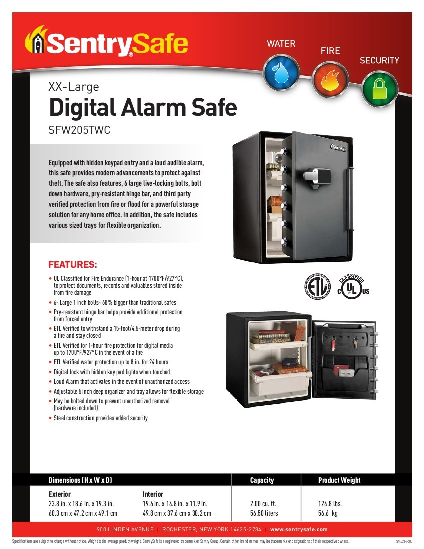 SentrySafe SFW205TWC Fire Chests, Safes