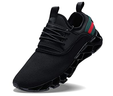 COKAFIL Men Running Shoes Walking Athletic Casual Fashion Sport Tennis Blade  Sneakers Black 59f1cfb92a24