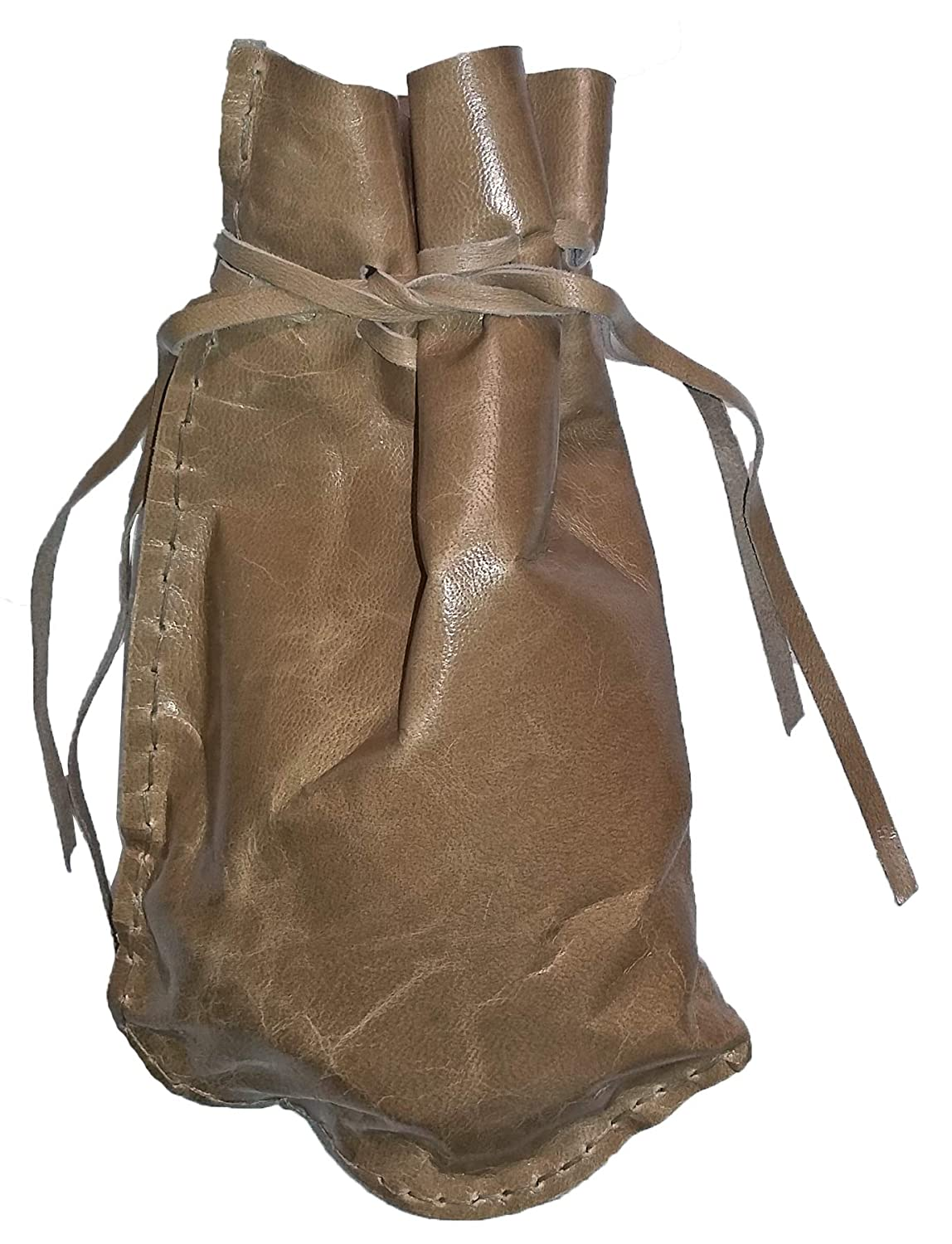 Pouch Drawstring Patterned Leather 5 X 7.5 Inches, Buckskin
