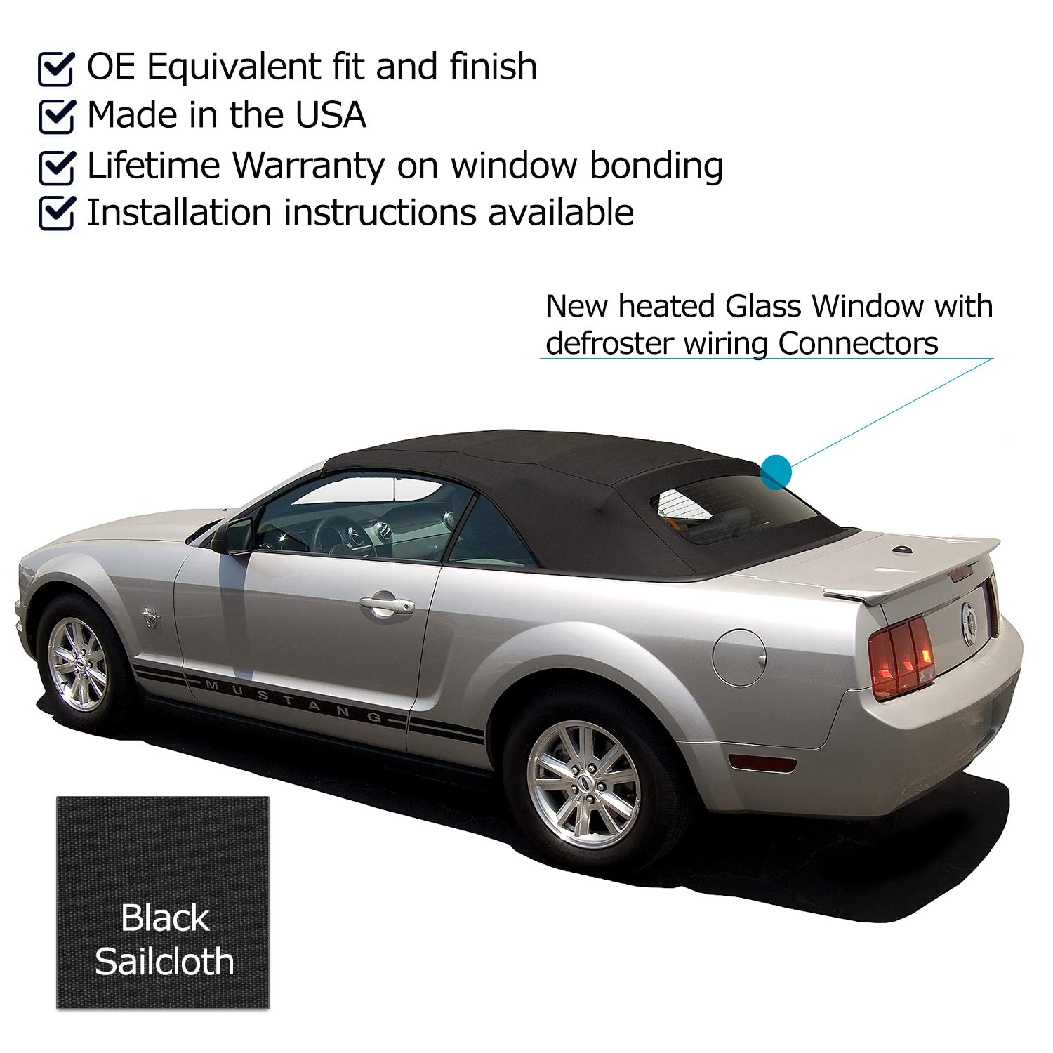 Sierra auto tops convertible soft top replacement compatible with ford mustang 2005 2014 all models w heated glass window sailcloth vinyl black