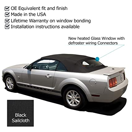 Sierra Auto Tops Convertible Soft Top Replacement, compatible with Ford  Mustang 2005-2014 (All Models), w/Heated Glass Window, Sailcloth Vinyl,  Black