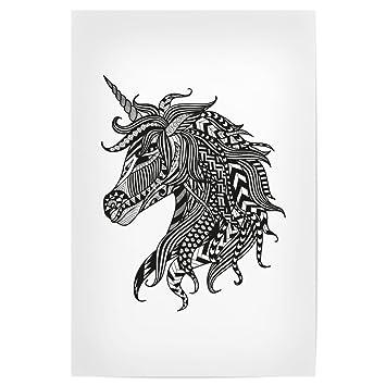 Amazon De Artboxone Poster 90x60 Cm Tiere Zentangle Einhorn