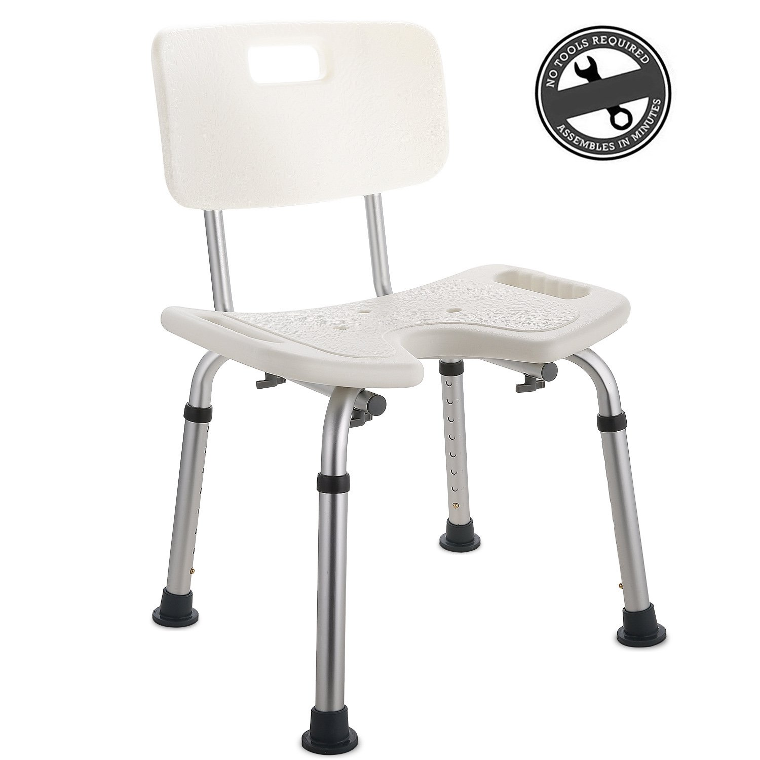 Modrine Shower Stool Seat Chair Medical Bath Stool Bathroom Aid Chair with Unique Groove Design and Removable Back,331lbs Weight Capacity