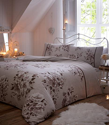 eba5a85e1906 WILLOW 100% Brushed Cotton Thermal Flannelette Duvet Quilt Cover with Pillowcase  Bedding Set (WILLOW - Natural, Double): Amazon.co.uk: Kitchen & Home