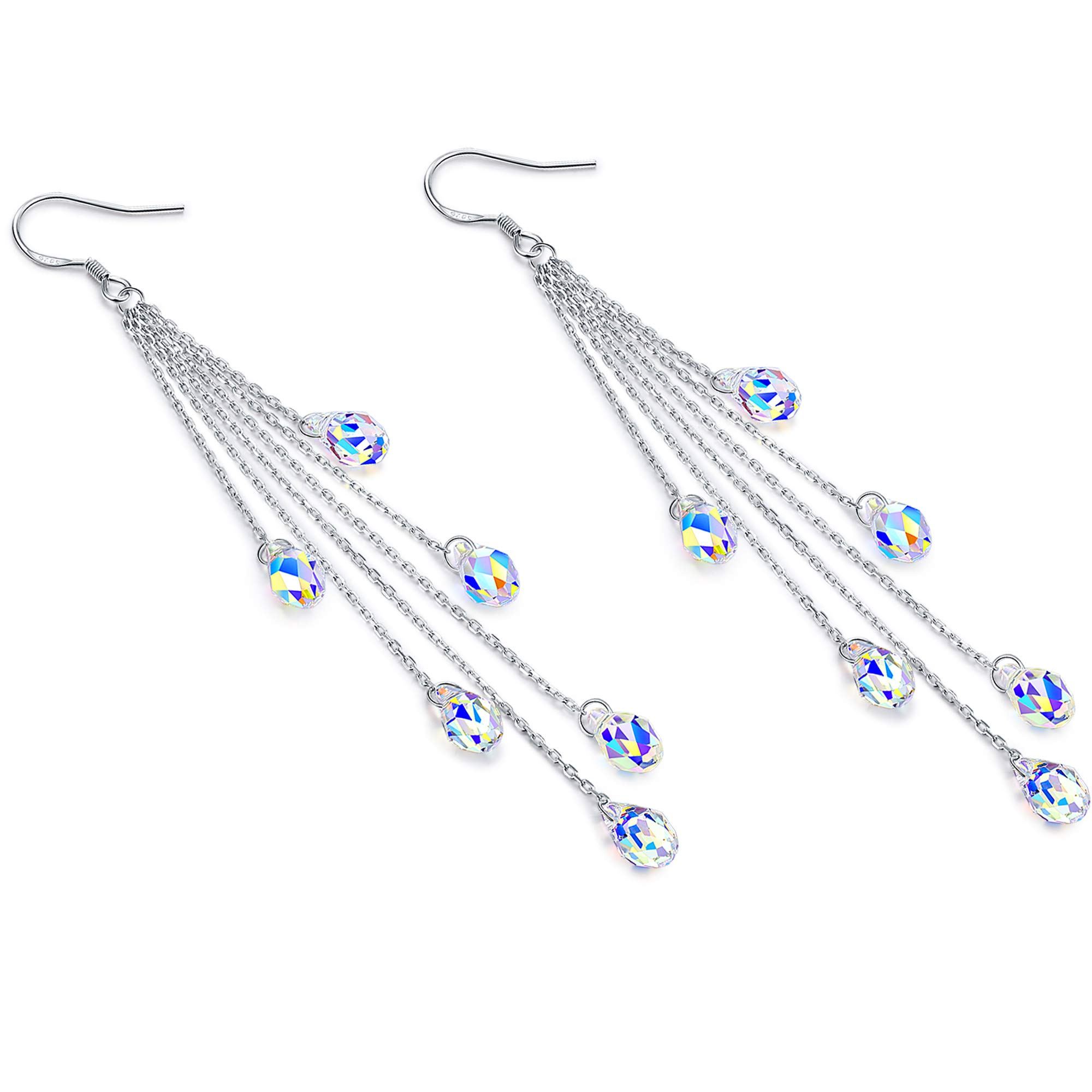 DESIMTION Long Teardrop Dangle Earrings,Sterling Silver Earrings for Women Made with Swarovski Crystals by DESIMTION