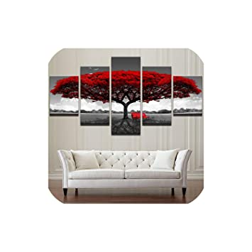Modular Canvas Hd Prints Posters Home Decor Wall Art Pictures 5 Pieces Red Tree