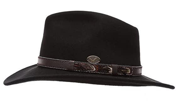 ab05f89b30b0a0 Men's Premium Wool Outback Fedora with Faux Leather Band Hat with Socks. at  Amazon Men's Clothing store: