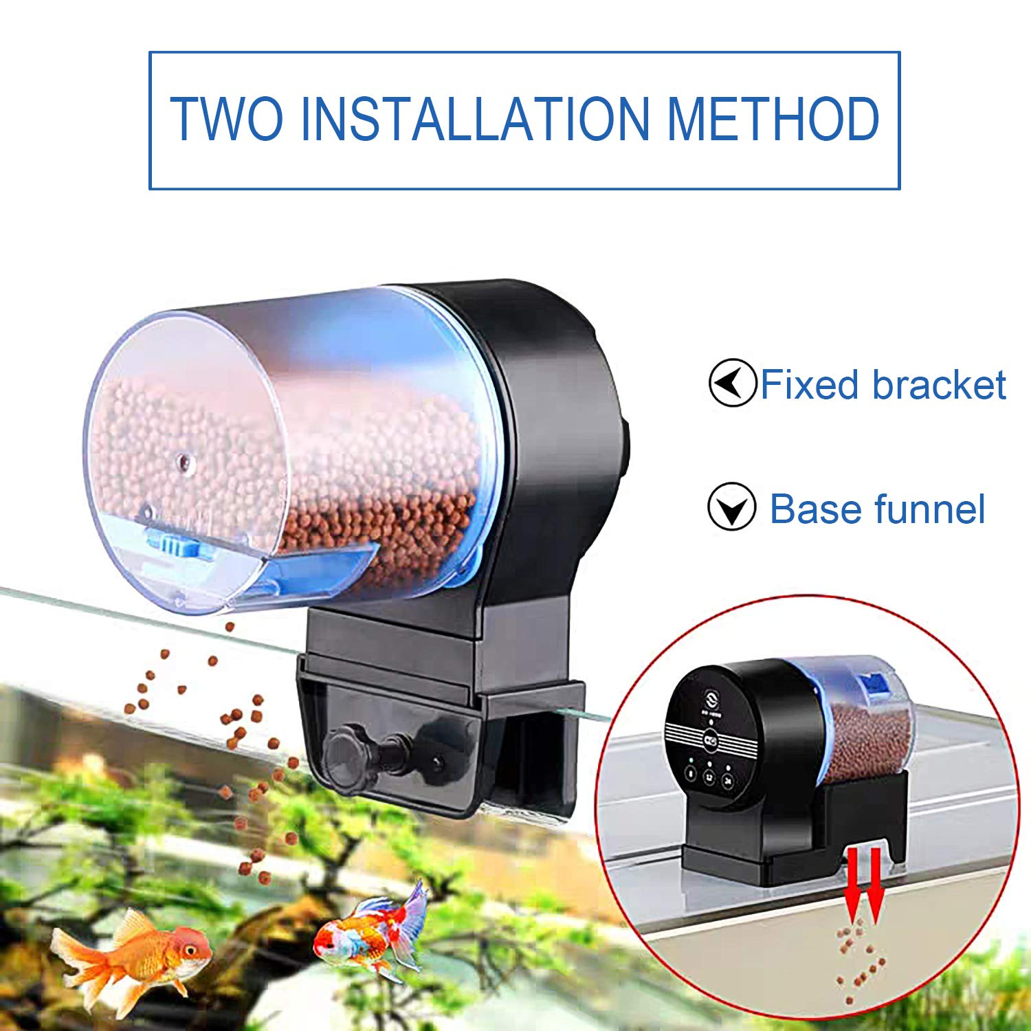 DOTSOG Digital Automatic Fish Feeder - Rechargeable Timer Fish Feeder with USB Charger Cable, Fish Food Dispenser for Aquarium or Fish Tank by DOTSOG (Image #3)