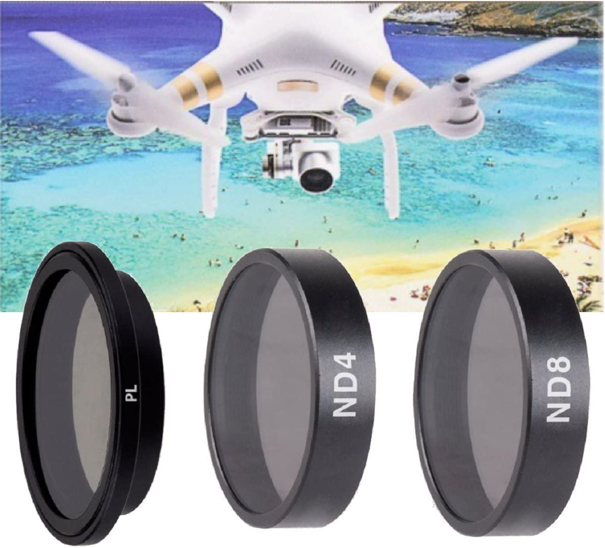 LENSKINS 3 Pack ND4-CPL//ND8-CPL//ND16-CPL Filter Kits Compatible DJI Multi-Resistant Coated with Lens Cloth AGC Optics Replacement for DJI Phantom 4//Phantom 3 Professional//Phantom 3 Advanced Filter