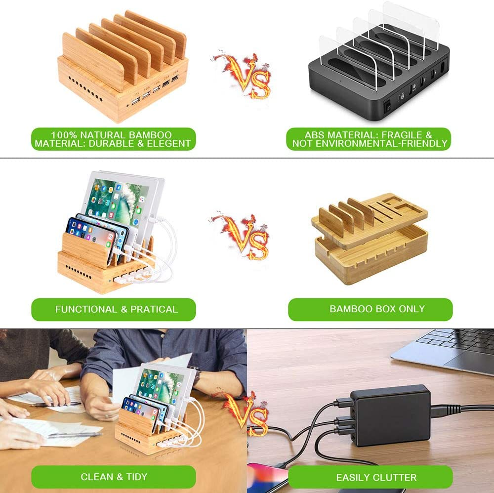 OthoKing Bamboo Charging Station iPad,Tablet and Android Cell Phone Wood Charging Station for Multiple Devices with 5 Ports USB Charger Docking Station for iPhone