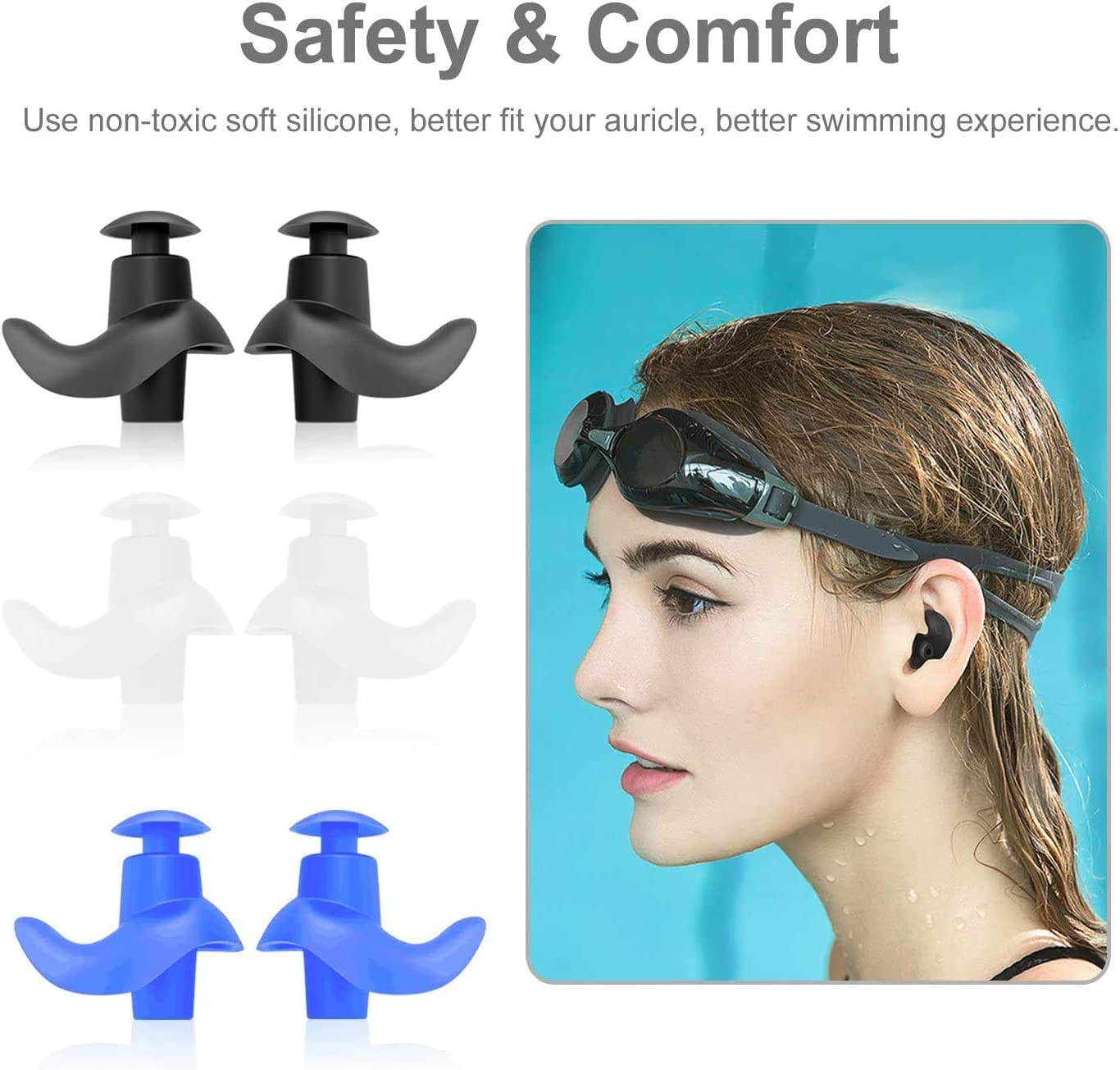 Swimming earplugs, 4 Pairs of Waterproof Reusable earplugs, Adult and Child Swimming earplugs, Swimming Bathing Surfing and Other Water Sports: Health & Personal Care