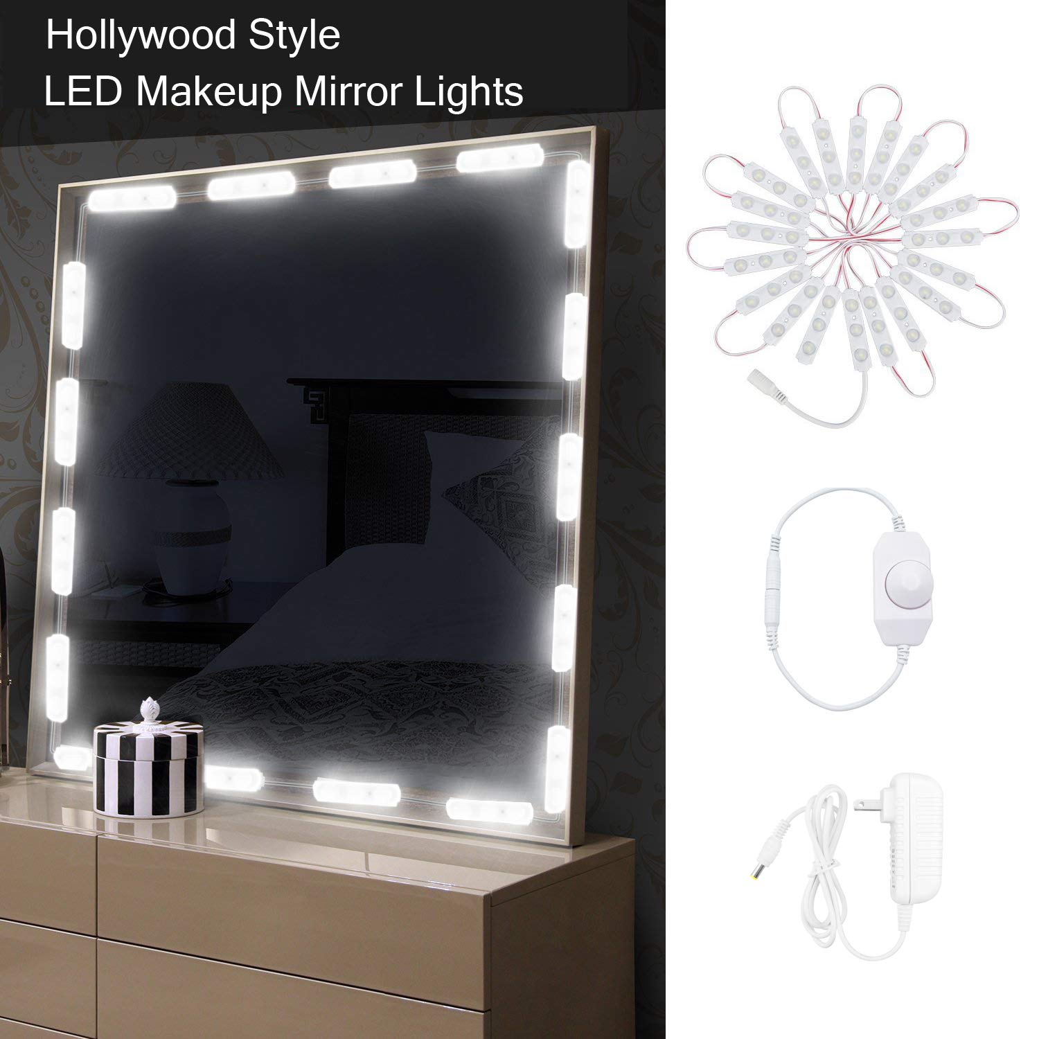 LED Makeup Mirror Lights Kit,Hollywood Style Vanity Mirror Light,10ft Ultra Bright Makeup Lights, Dimmable Lights Strip,for Dressing Table, Bathroom, Decorative Walls (Includes Power Supply)