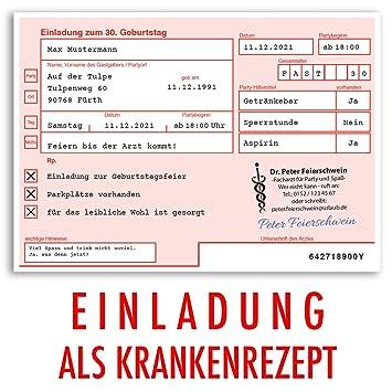 (40 X) Einladungskarten Geburtstag ärztliches Rezept Krankenrezept  Einladungen
