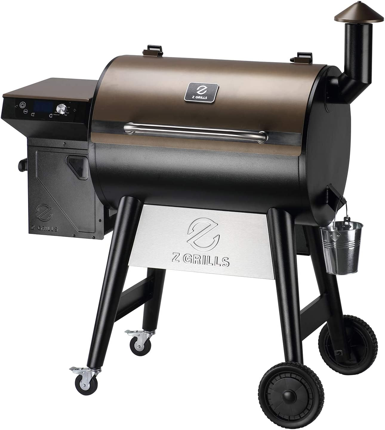 Z GRILLS 7002F 2021 Upgraded Wood Pellet Grill Smoker Portable for Outdoor BBQ Cooking, 8 in 1 BBQ Grill and Smoker with Digital Temperature Control, Hopper Clean-Out, Pellet View Window, 697 sq. in (Rain Cover Included)