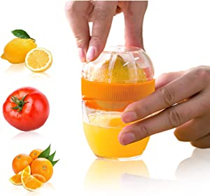 lemonsqueezer,Juicer Squeezer,Orange ABS Non-slip lime Squeezer with Strainer and Built-in Measuring Cup