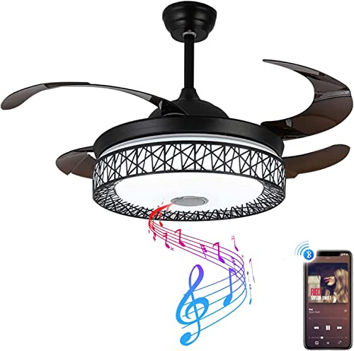 42 Retractable Chandelier Fan Light Bluetooth Ceiling Fan
