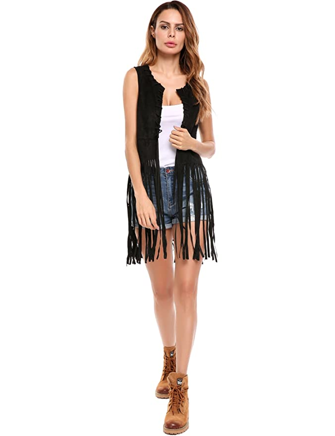 HOTOUCH Women Open-Front Faux Suede Sleeveless Tassels Vest Cardigan Female:  Amazon.ca: Sports & Outdoors