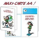 Gaston Lagaffe GLMX-2029 Grande Carte Retraite Grand Format A4 + Enveloppe Blanc Départ Repos maxi géante