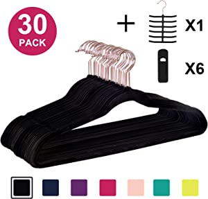 Dantly Premium Velvet Suit Heavy Duty-Non Slip & Space-Saving Clothes Hangers with 6 Finger Clips and Tie Rack for Men and Women (30 Pack), Black
