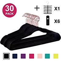 VECELO Premium Velvet Suit Heavy Duty(30 Pack) -Non Slip & Space-Saving Clothes Hangers with 6 Finger Clips & Tie Rack…