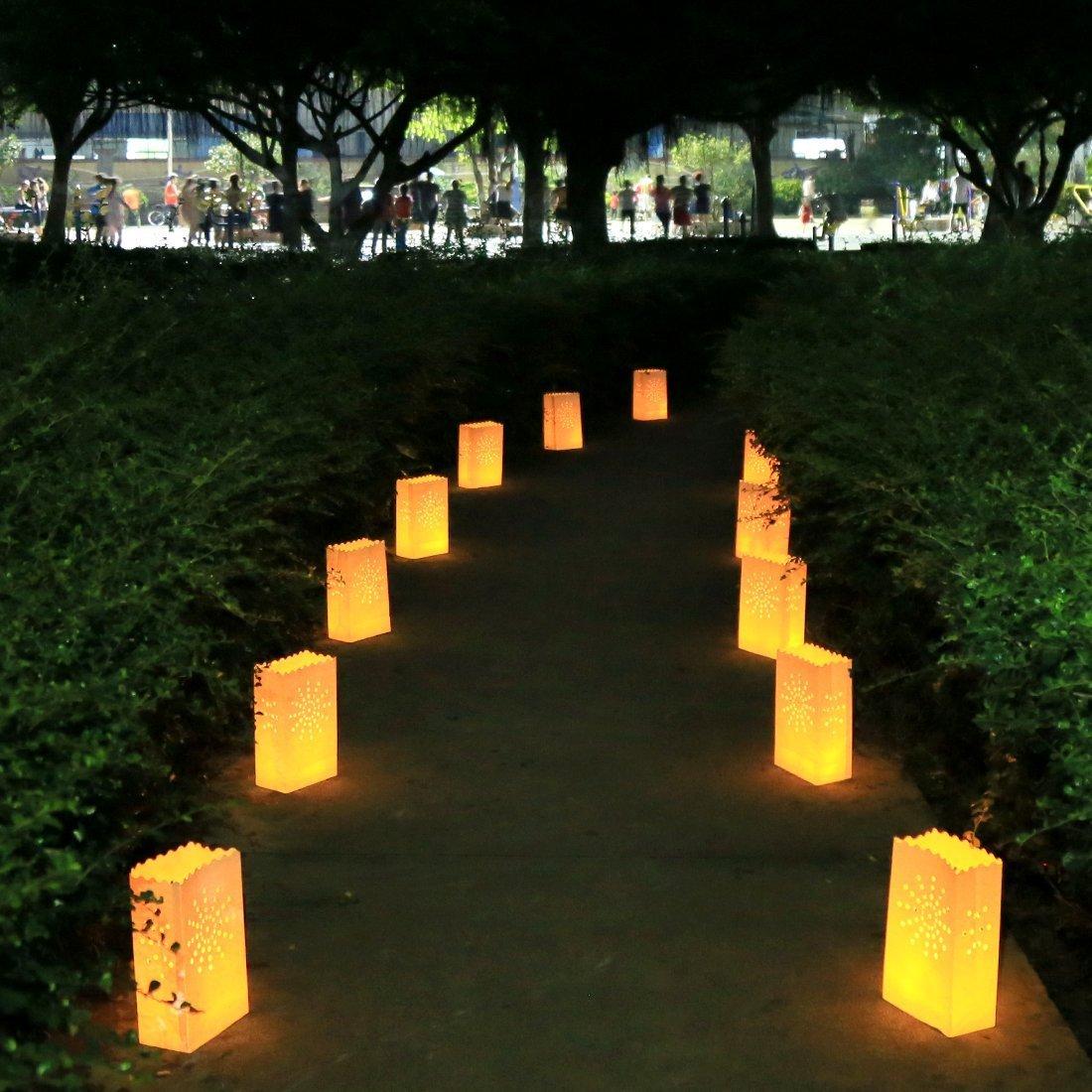 20 pc Borse per Illuminazione a Candela Perfetto per Natale Cotone Ignifugo Durevole e Riutilizzabile la Ricezione ed Evento AOOKEY Candle Luminary Bags la Cerimonia Nuziale