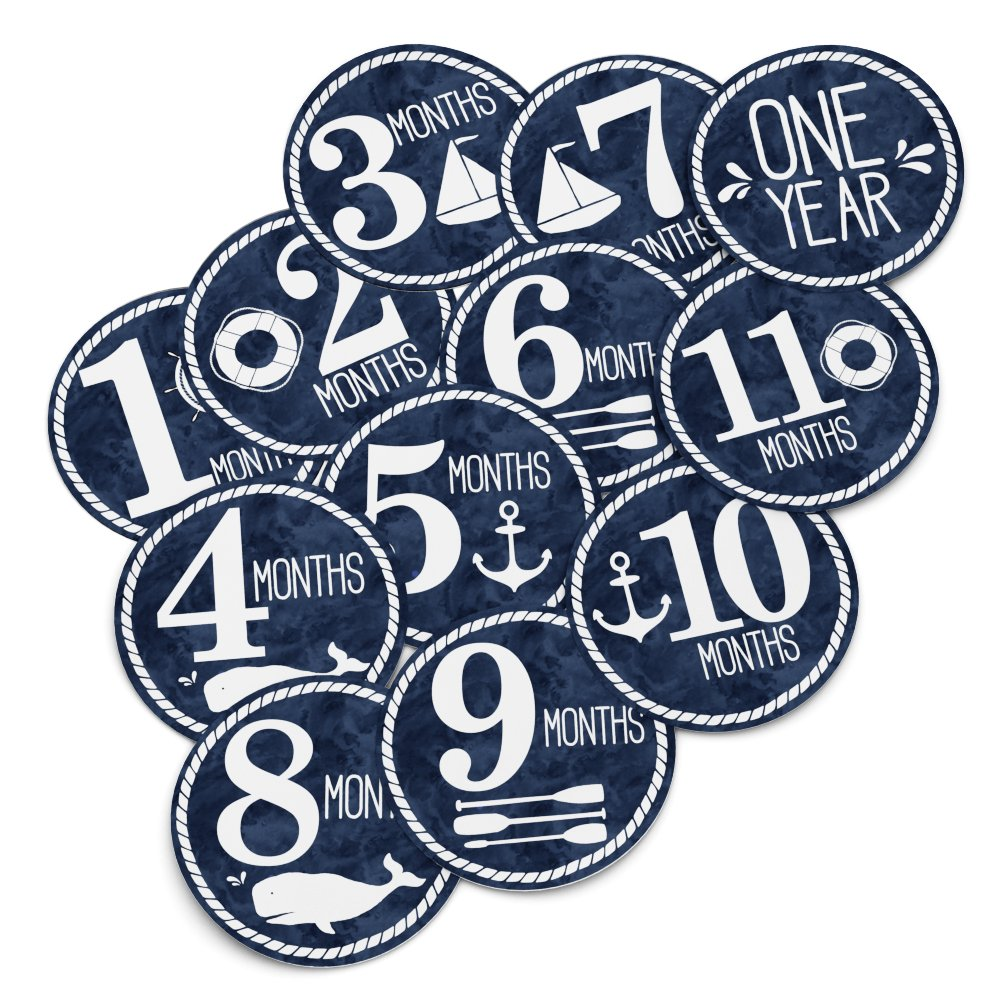 "Baby Monthly Stickers - Milestone Month Sticker for Onesie or Scrapbook - Twelve  4"" Premium Sticker for Your Boy or Girl First Year Growth - Great Shower Registry Gift for Expecting Mothers"