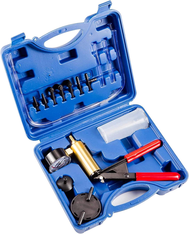Alight Tools Brake Bleeding Kit Vacuum Pump One Man Hand Held Fluid Bleeder Tool Tester Set With Gauge Adapters for Automotive Car Motorbike Motorcycle