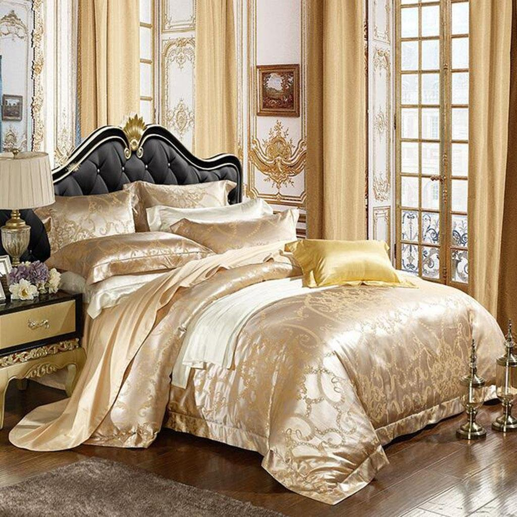 L&M European style silk Four sets Mulberry silk Sided Silk Solid color Wedding Kit Bed Supplies 200 230 cm , gold , 200230cm