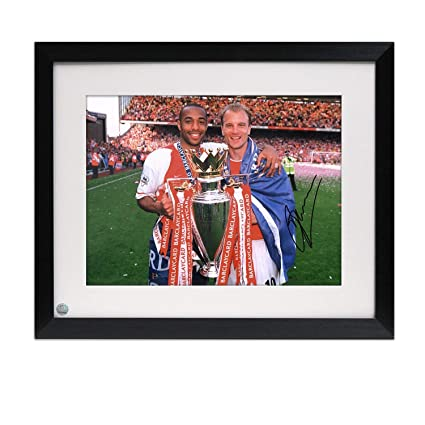 1ed23e46227 Framed Dennis Bergkamp Signed Arsenal Photo  With Thierry Henry at ...