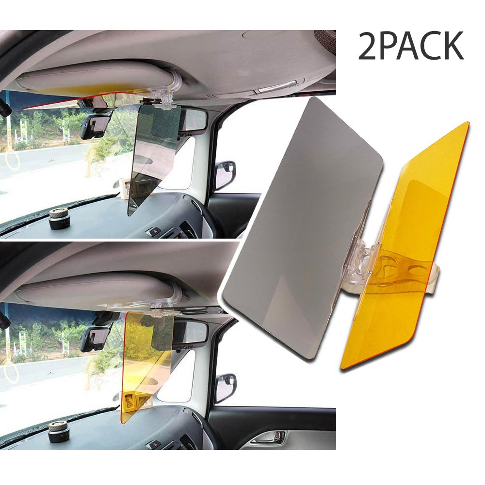 Transparent 2 PK Reduce Glare from Sunlight /& Oncoming Headlights Through Windshield Tinted Shields Day /& Night Drive Safer with Enhanced Visibility. 4350389715 RED SHIELD Universal Car Sun Visor Extender