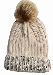 d5205005001 Luxury Knitted Diamante fringe bobble hat with Fuax fur pom (Beige)