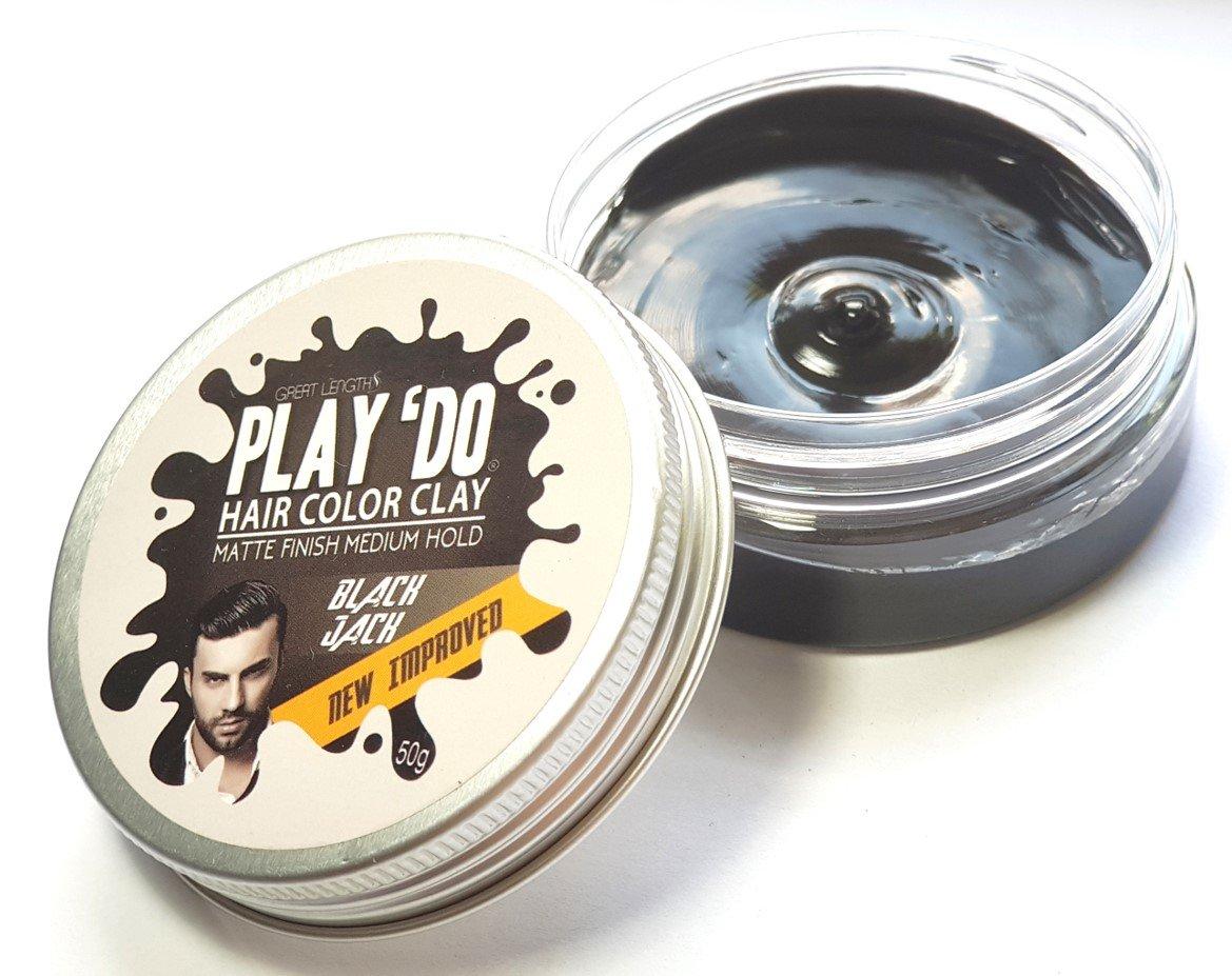 Play 'Do Temporary Hair Color, Hair Wax, Hair Clay, Mens Grooming, Pomade, Black hair dye(1.8 ounces) by Great Lengths (Image #2)